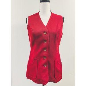 Vtg 70's Knitted Red Vest